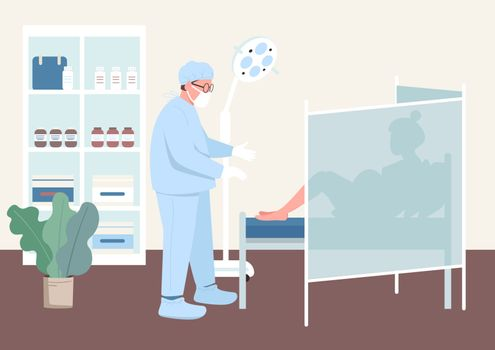Pregnancy checkup flat color vector illustration. Clinical health examination. Pregnant woman in gynecologist cabinet. Doctor and patient 2D cartoon characters with interior on background