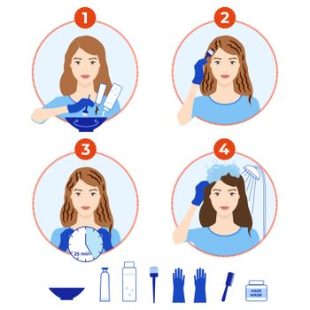 Hair dyeing icons set. How to dye hair at home tutorial. Step-by-step instruction for hair coloring process. Beauty procedure. Apply color creme on hair with brush. Isolated flat vector illustration.