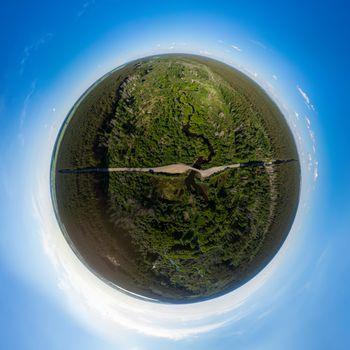 360 spherical panorama of aerial top vew of winding river