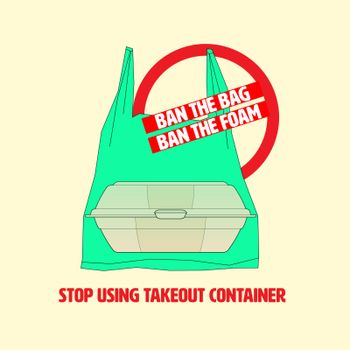 Ban symbol with outline flat icon of plastic bag and foam food container. Stop using plastic takeout container concept. Vector illustration.