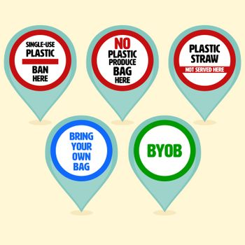 Set of plastic pollution awareness sign in shape of location symbol as a gimmick to specify the place. Stop plastic pollution concept. Vector illustration.