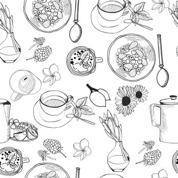 Seamless pattern of doodles food elements on white background. Background with breakfast healthy breakfast Cereal granola, tea, teapot and fresh smoothie.