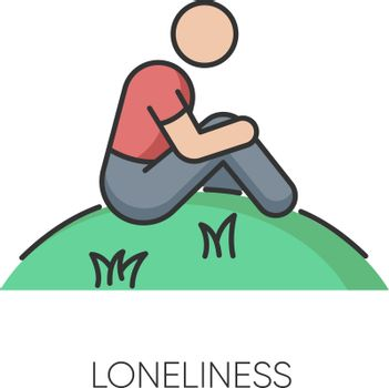 Loneliness RGB color icon