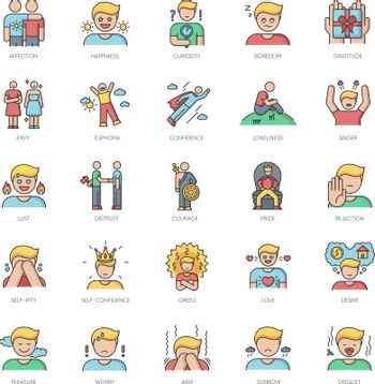 Human feelings RGB color icons set