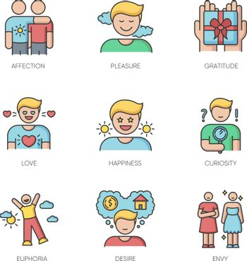 Feelings and emotions RGB color icons set