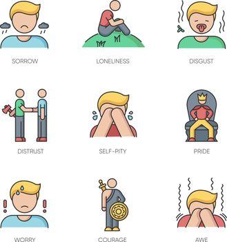Negative feelings RGB color icons set