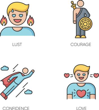 Good feelings and qualities RGB color icons set