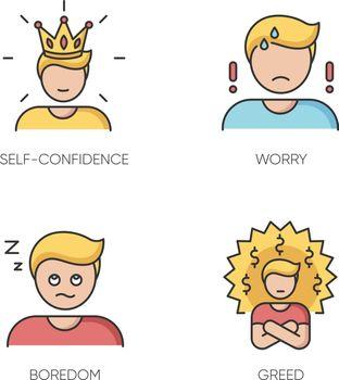 Negative feelings and bad traits RGB color icons set