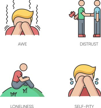 Negative emotions and bad feelings RGB color icons set