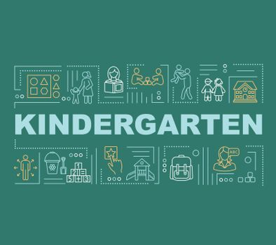 Toddlers kindergarten word concepts banner. Early childhood education. Infographics with linear icons on dark green background. Isolated typography. Vector outline RGB color illustration