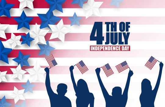 4th of July banner or poster in United States of America flag colors and decoration. Vector illustration. Happy independence day.