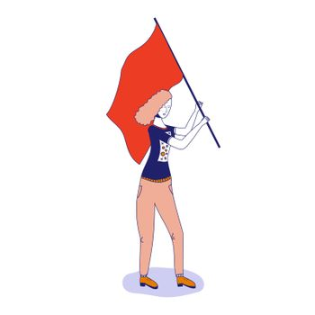 Young girl with red hair waving a red flag. The concept of revolution, protest. Vector illustration, blue line, in cute cartoon style
