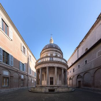 Rome, Italy - 23 Jan 2020: Tempietto of Bramante in San Pietro in Montorio has been seen as the invention of Italian Renaissance, in Rome, Italy