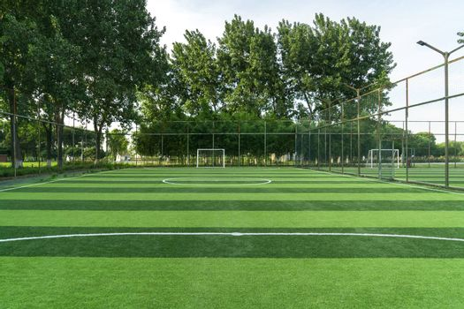 The football field in a public park. Photo in Suzhou, China.