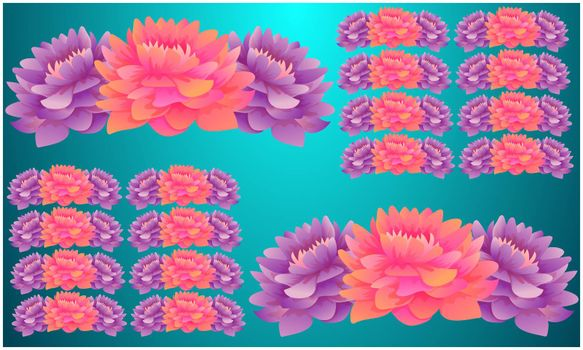 Digital Textile design of flowers on abstract backgrounds