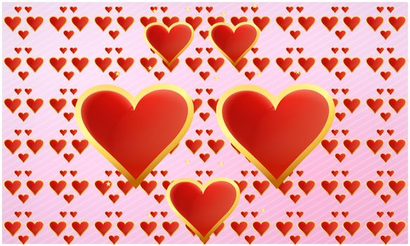 Golden hearts on abstract valentine background