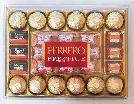 ALBA - AUG 2019: Ferrero prestige chocolate