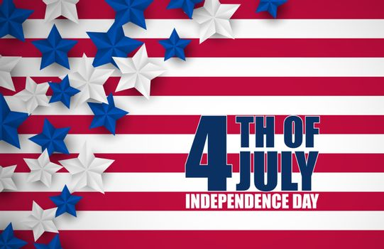 4th of July banner or poster in United States of America flag colors with silhouette people and decoration. Vector illustration. Happy independence day.