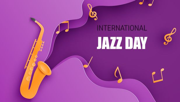 International jazz day poster or banner with saxophone in paper