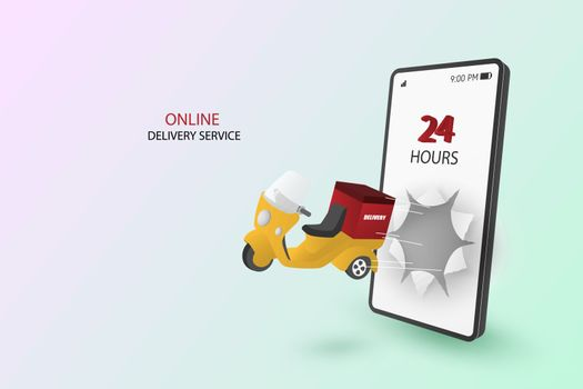 Online buying and fast delivery concept. With 3d deliver scooter