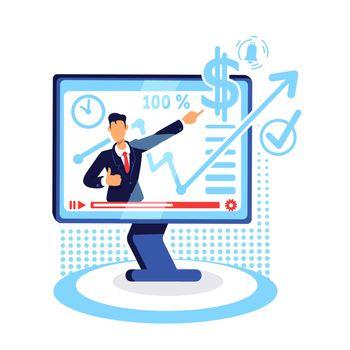 Online marketing tutorial flat concept vector illustration