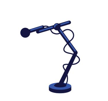 Microphone with wires flat color vector object. Mic to record conversational podcast. Reporter equipment. Journalist setup isolated cartoon illustration for web graphic design and animation