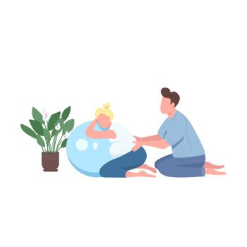 Pregnant woman fitness flat color vector faceless character. Husband help wife. Man massage girl. Class for prenatal care isolated cartoon illustration for web graphic design and animation