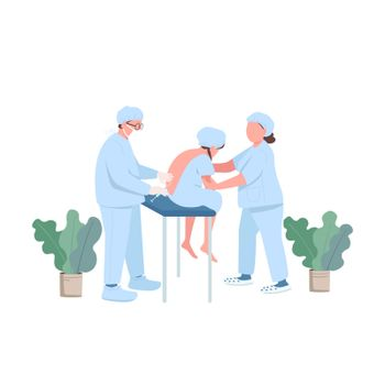 Pregnant patient flat color vector faceless character. Treatment for pain release. Prenatal care. Doctor in clinic. Spinal injection isolated cartoon illustration for web graphic design and animation