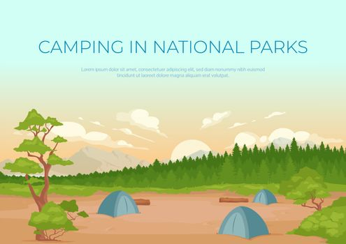 Camping in national parks banner flat vector template
