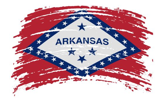 Arkansas US flag in grunge brush stroke, vector image