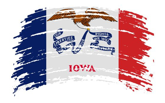 Iowa US flag in grunge brush stroke, vector image