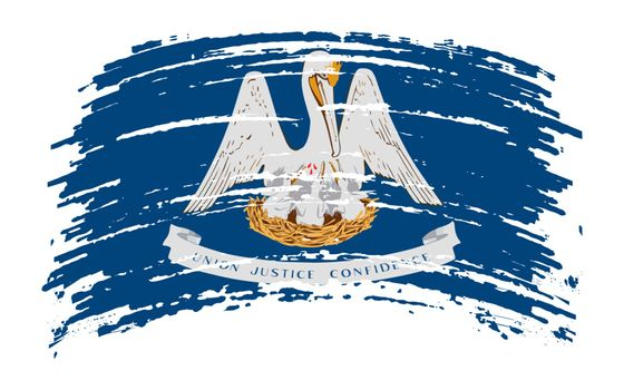 Louisiana US flag in grunge brush stroke, vector image