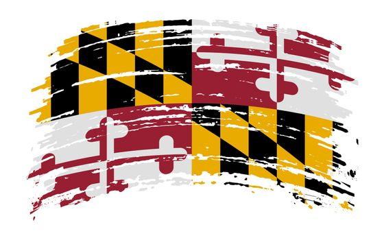 Maryland US flag in grunge brush stroke, vector image
