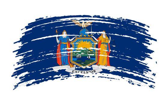 New York US flag in grunge brush stroke, vector image