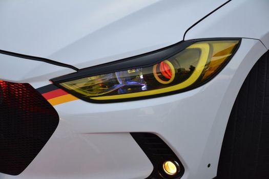 Hyundai accent headlight at Bumper to Bumper car show in Pasay,