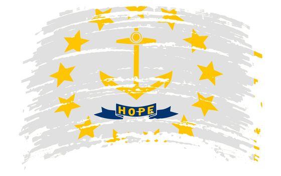 Rhode Island US flag in grunge brush stroke, vector image
