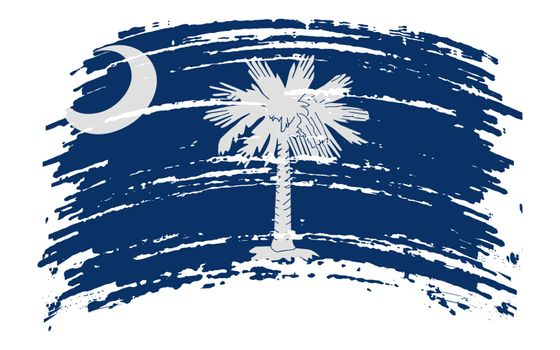 South Carolina US flag in grunge brush stroke, vector image