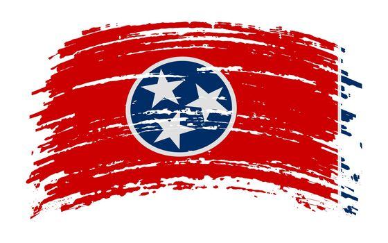 Tennessee US flag in grunge brush stroke, vector image