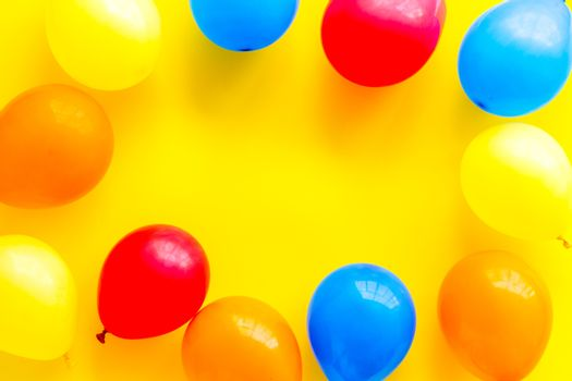 Frame of ballons - celebration concept - from above copy space