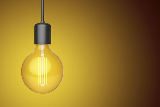 Decorative LED light bulb on warm background