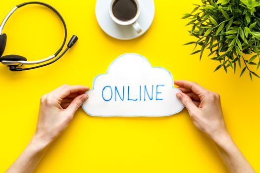 Cloud networking online internet concept. Paper bubble in hands top view