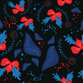 Trendy dark floral pattern in the many kind of flowers. Botanical motifs with in hand drawn style on black background. Flowers abstract seamless texture in bright colors. Stock vector illustration