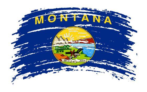 Montana US flag in grunge brush stroke, vector image