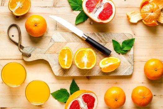 Orange juice and grapefruit preparation, top view