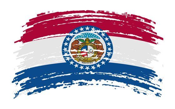 Missouri US flag in grunge brush stroke, vector image