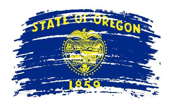 Oregon US flag in grunge brush stroke, vector image