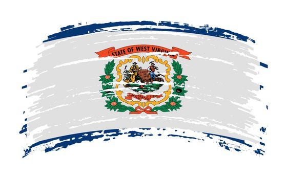West Virginia US flag in grunge brush stroke, vector image