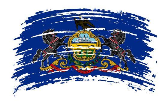 Pennsylvania US flag in grunge brush stroke, vector image