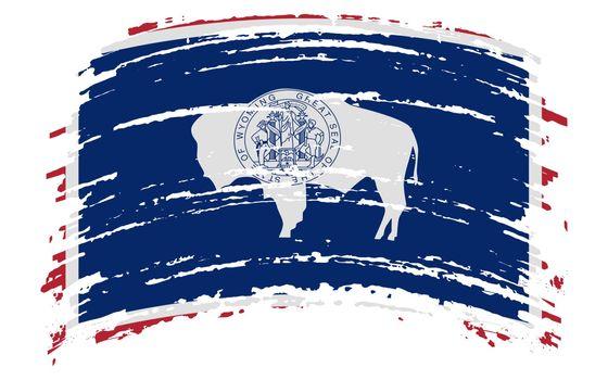 Wyoming US flag in grunge brush stroke, vector image