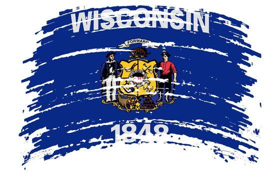 Wisconsin US flag in grunge brush stroke, vector image